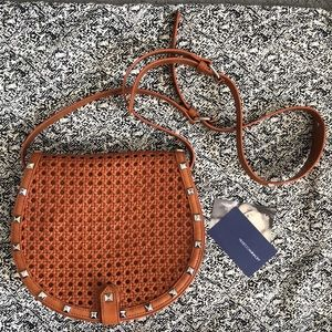 New Rebecca Minkoff tan leather cane shoulder bag